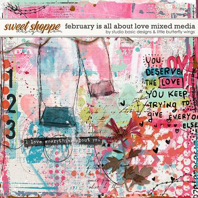 February Is All About Love Mixed Media by Studio Basic and Little Butterfly Wings