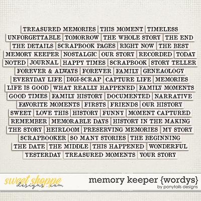 Memory Keeper Wordys by Ponytails