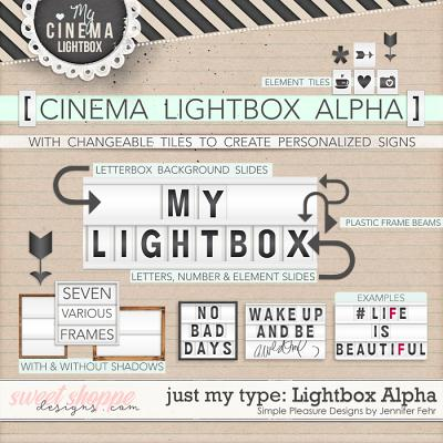 Just My Type Cinema Light box Alpha: Simple Pleasure Designs by Jennifer Fehr