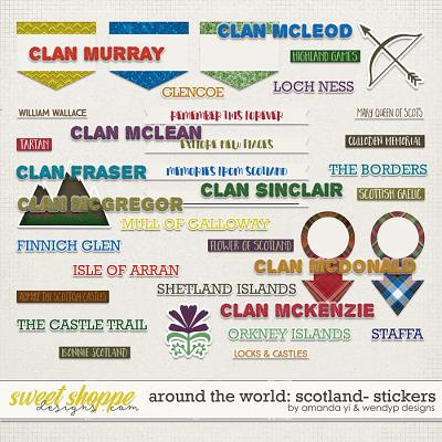 Around the world: Scotland - Stickers by Amanda Yi and WendyP Designs