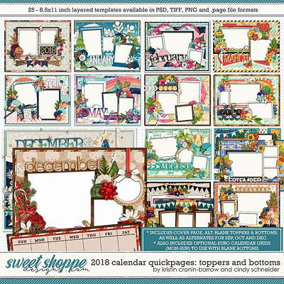 2018 Calendar Quickpages Toppers and Bottoms by Kristin Cronin-Barrow and Cindy Schneider