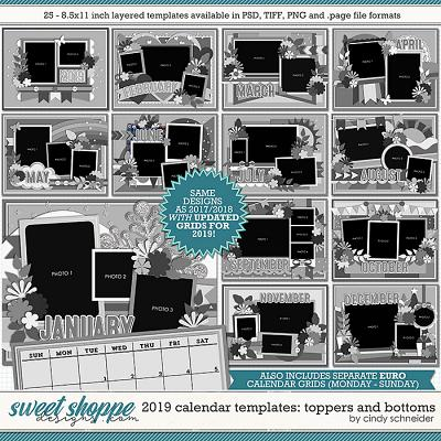 Cindy's Layered Templates - 2019 Calendar Templates: Toppers and Bottoms by Cindy Schneider
