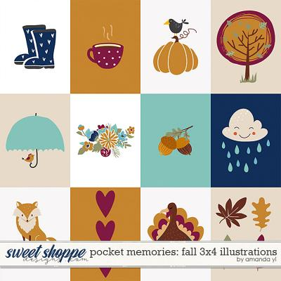 Pocket Memories: Fall 3x4 Illustrations by Amanda Yi
