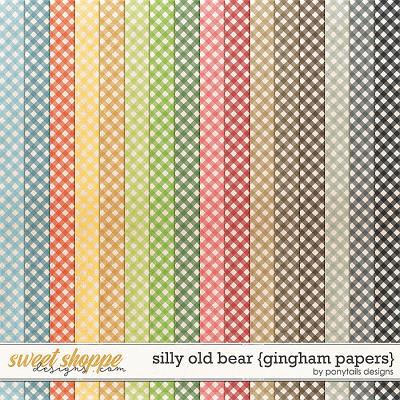 Silly Old Bear Gingham Papers by Ponytails