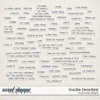 Trucks Wordys by Ponytails