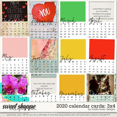 2020 Calendar 3x4 Cards by Studio Basic