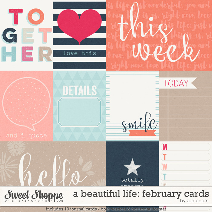 A Beautiful Life: February Journal Cards by Zoe Pearn