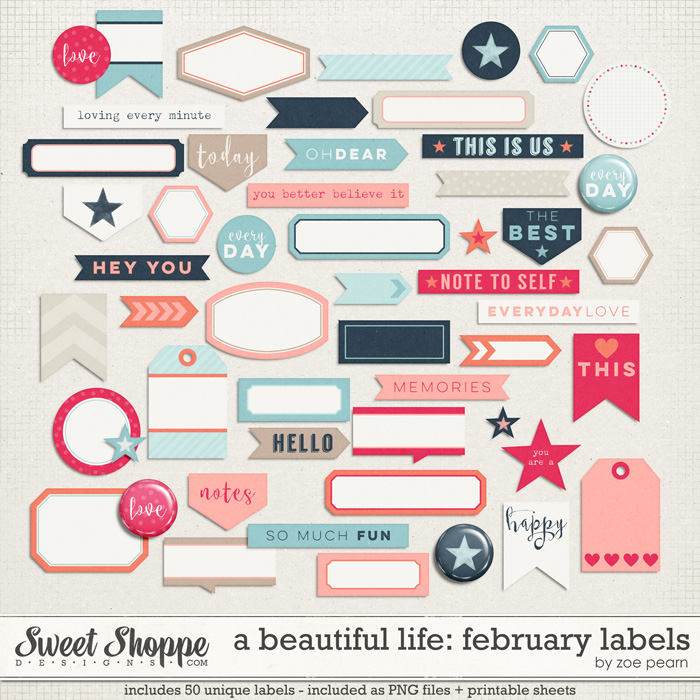 A Beautiful Life: February Labels & Stickers by Zoe Pearn