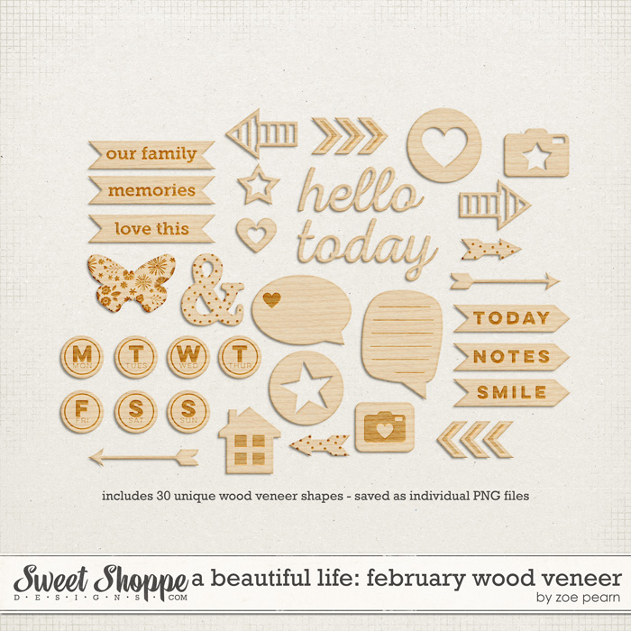 A Beautiful Life: February Wood Veneer Shapes by Zoe Pearn