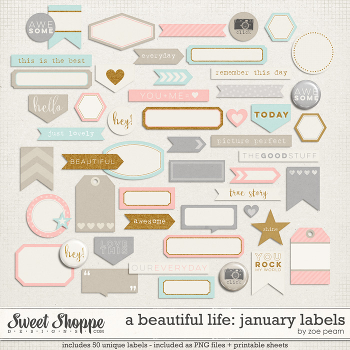 A Beautiful Life: January Labels & Stickers by Zoe Pearn