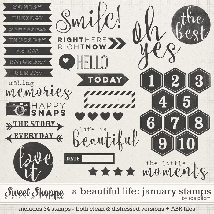 A Beautiful Life: January Stamps by Zoe Pearn