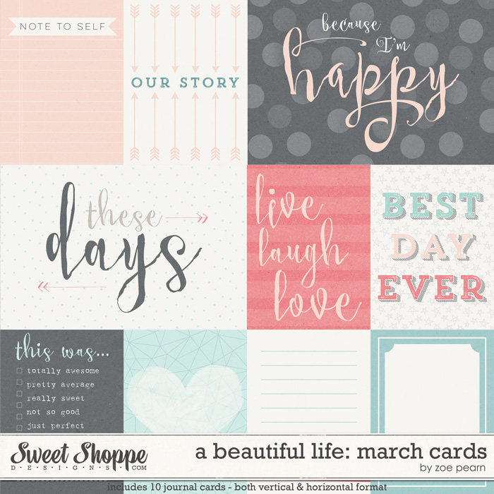 A Beautiful Life: March Journal Cards by Zoe Pearn