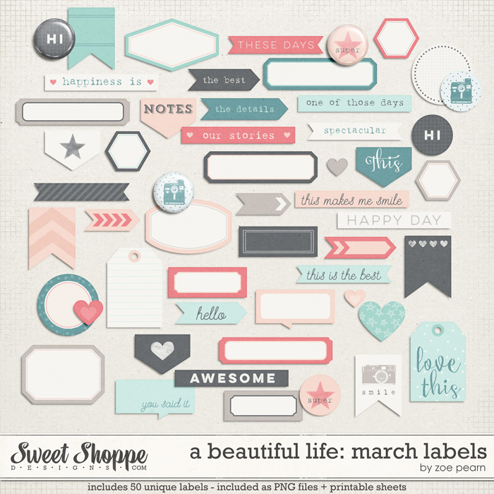 A Beautiful Life: March Labels & Stickers by Zoe Pearn