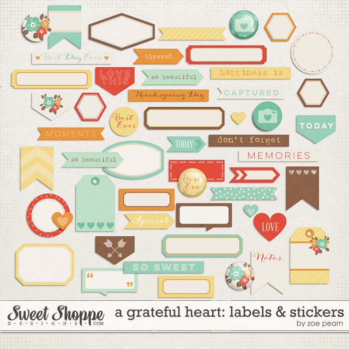 A Grateful Heart: Labels & Stickers by Zoe Pearn