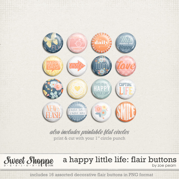 A Happy Little Life: Flair Buttons by Zoe Pearn