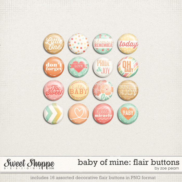 Baby Of Mine: Flair Buttons by Zoe Pearn