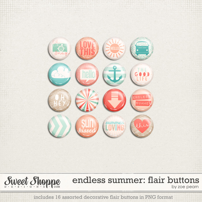 Endless Summer Flair Buttons by Zoe Pearn