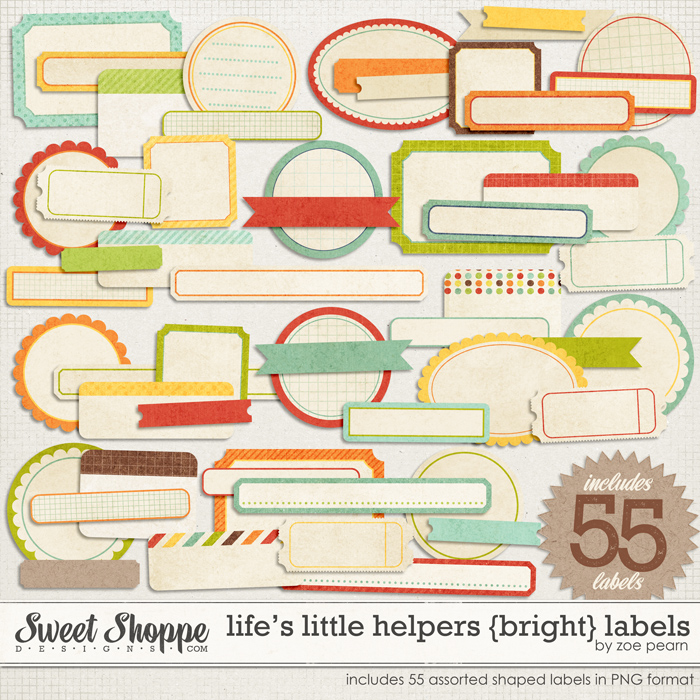 Life's Little Helpers {Brights} Labels by Zoe Pearn