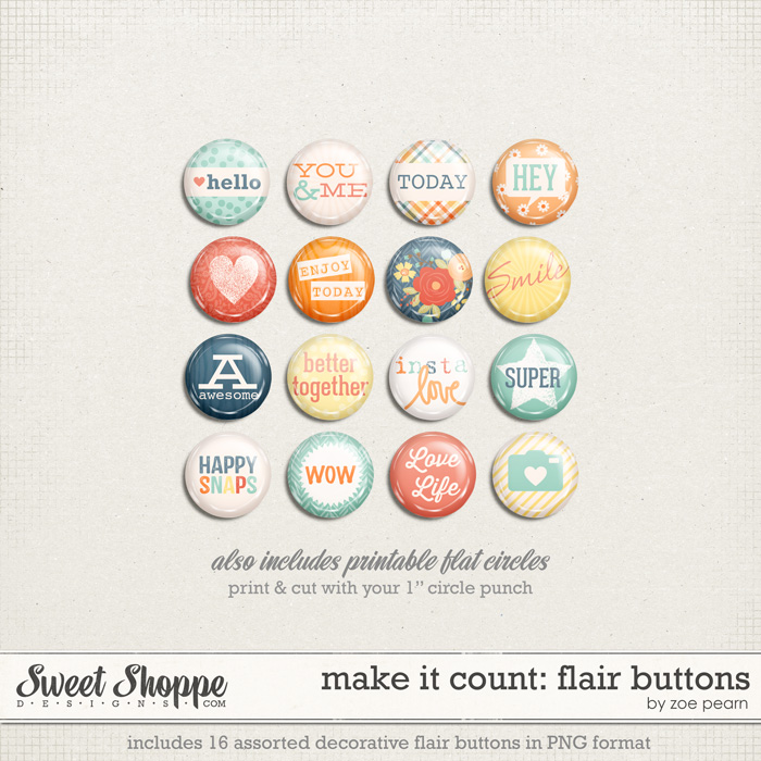 Make It Count: Flair Buttons by Zoe Pearn