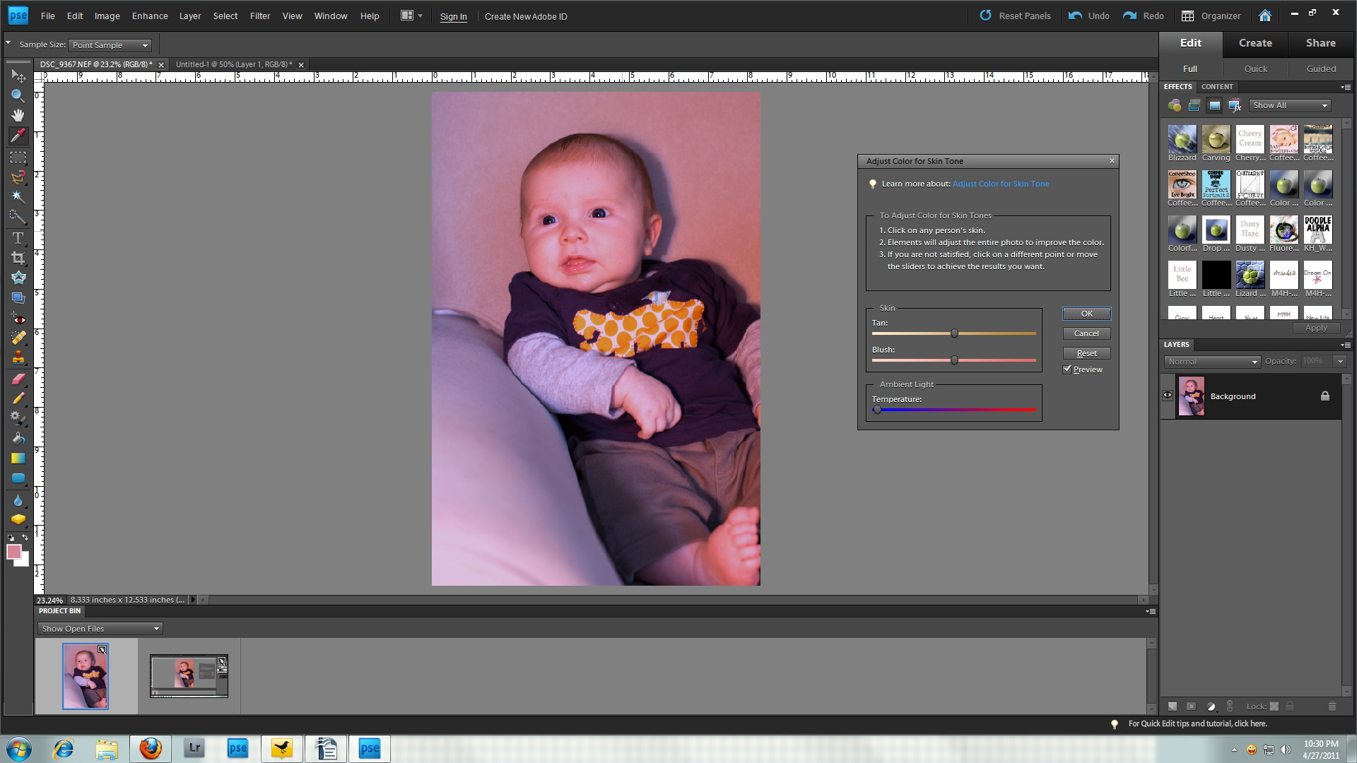 How to fix color cast in photoshop elements - These