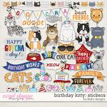 Birthday Kitty Stickers by lliella designs