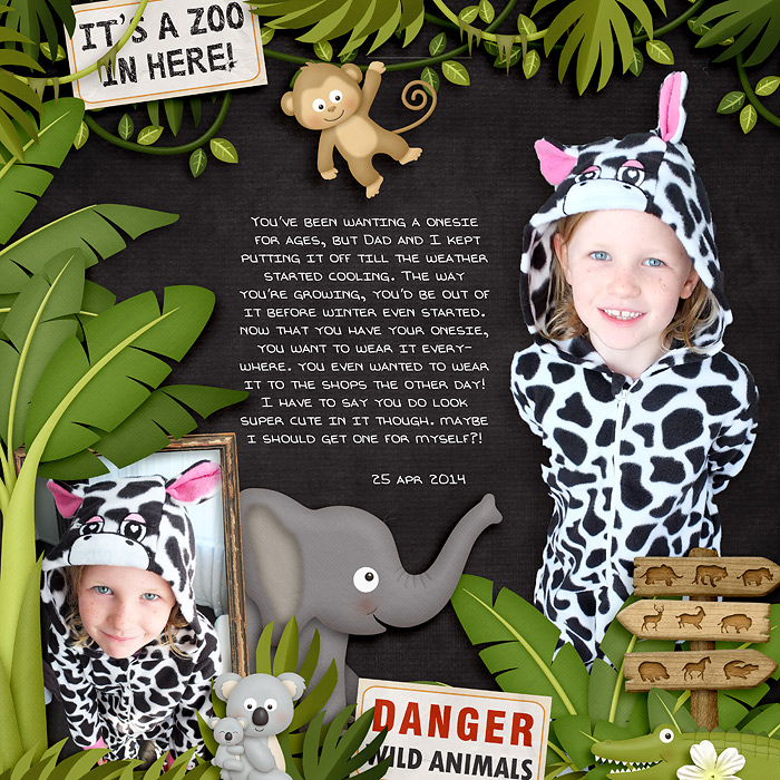 Digital scrapbooking layout by Jacinda using Zoo Adventures Kit by lliella designs