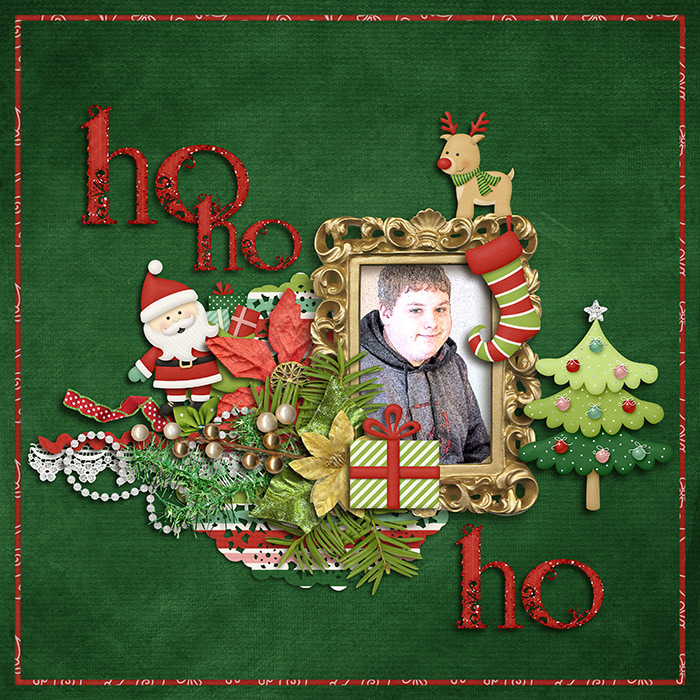 Digital scrapbooking layout by Judie using Santa is Coming to Town Kit by lliella designs