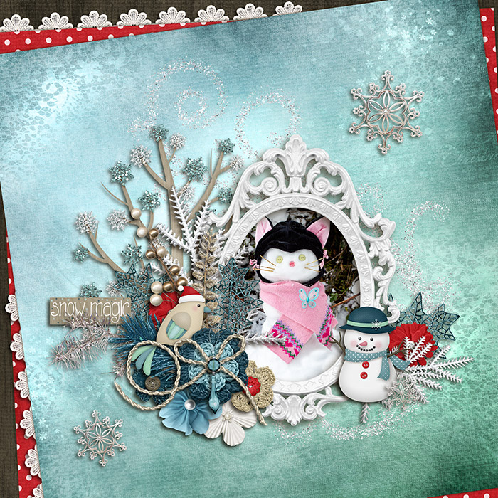 Digital scrapbooking layout by Judie using Hello Winter Kit by lliella designs