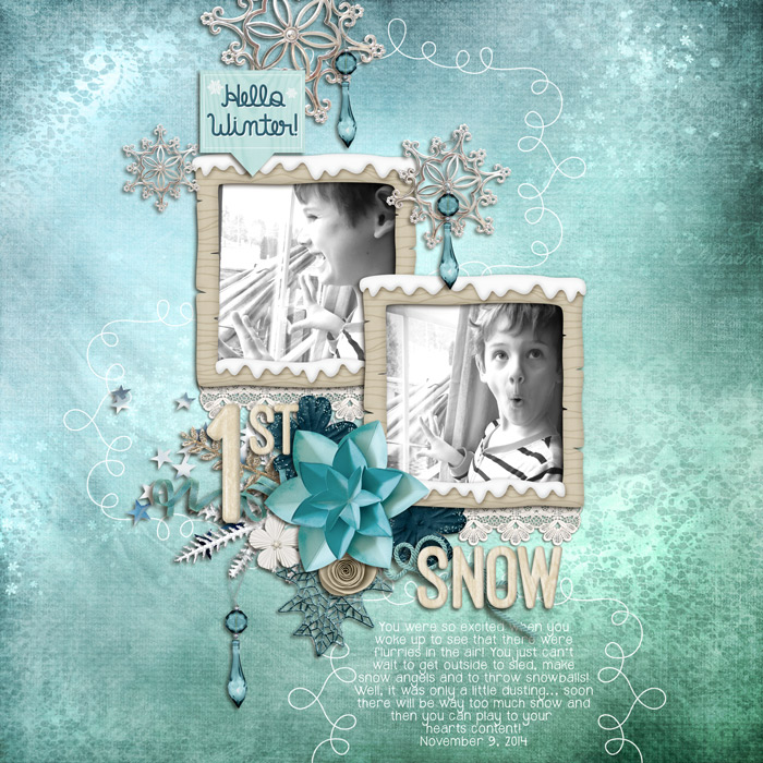 Digital scrapbooking layout by Rebecca using Hello Winter Kit by lliella designs