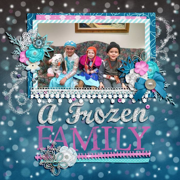 Digital scrapbooking layout by Adrienne using Frosty Party Kit by lliella designs
