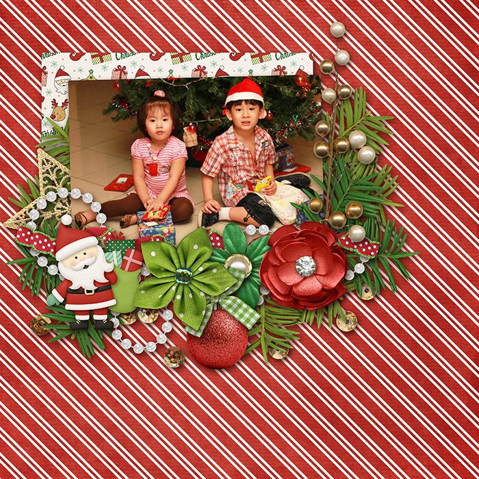 Digital scrapbooking layout by Allie using Santa is Coming to Town Kit by lliella designs