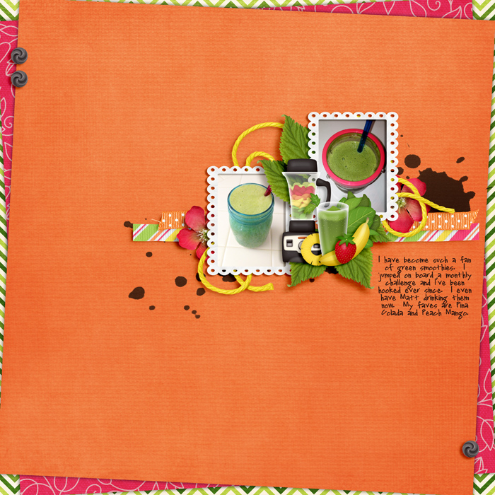Digital scrapbooking layout by Carrie using Juice Up! Kit by lliella designs