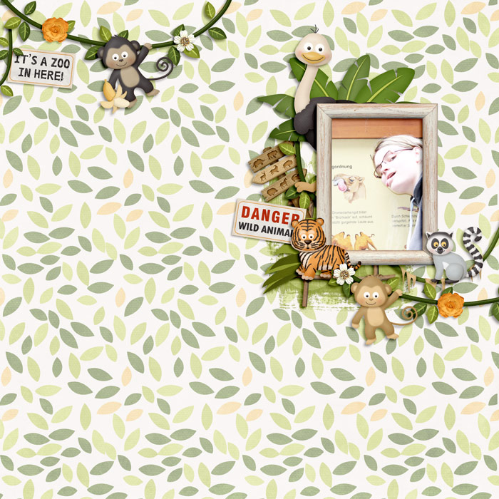 Digital scrapbooking layout by Cornelia using Zoo Adventures Kit by lliella designs