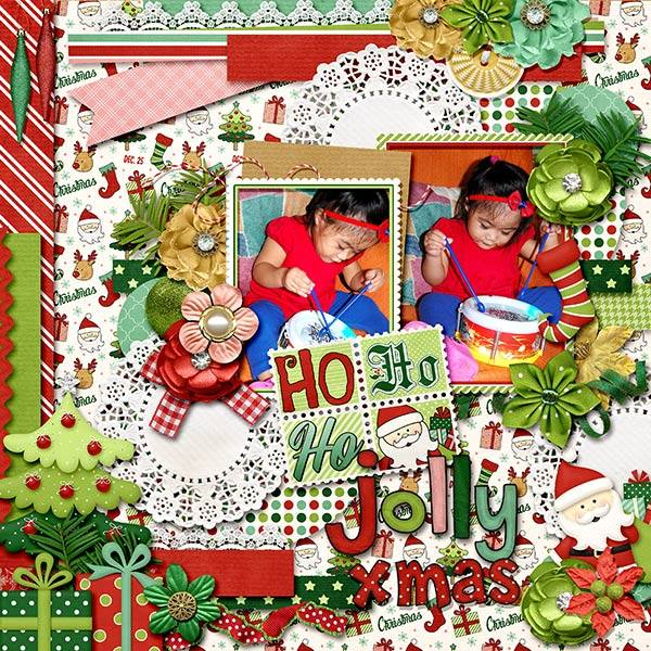 Digital scrapbooking layout by Edna using Santa is Coming to Town Kit by lliella designs