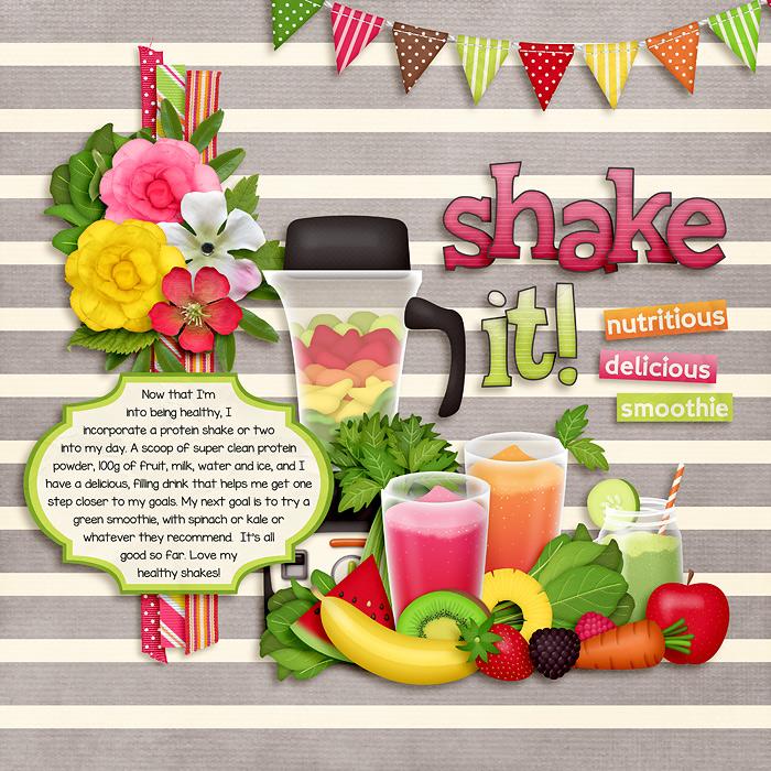 Digital scrapbooking layout by Jacinda using Juice Up! Kit by lliella designs