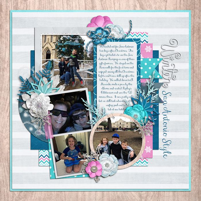 Digital scrapbooking layout by Jill using Frosty Party Kit by lliella designs