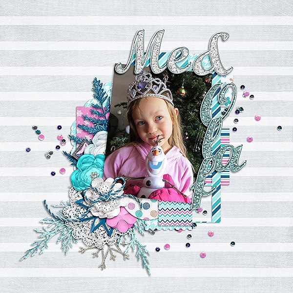 Digital scrapbooking layout by Martina using Frosty Party Kit by lliella designs