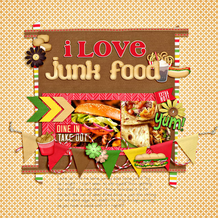 Digital scrapbooking layout by Niki using Fast Foodie Kit by lliella designs