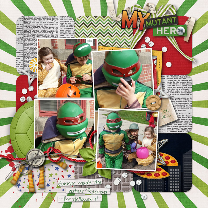 Digital scrapbooking layout by Rachael using Ninja Dudes Kit by lliella designs