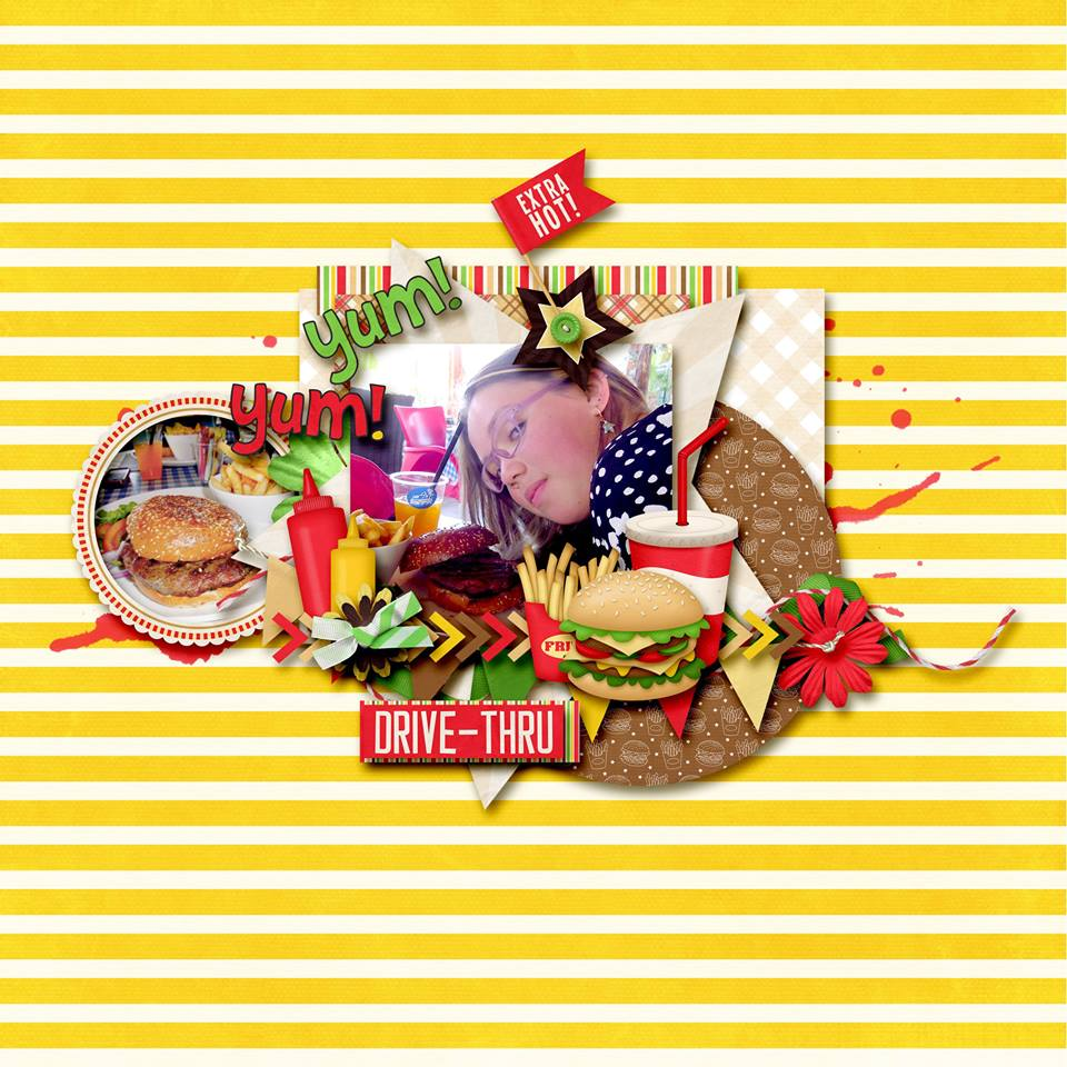 Digital scrapbooking layout by Sanka using Fast Foodie Kit by lliella designs