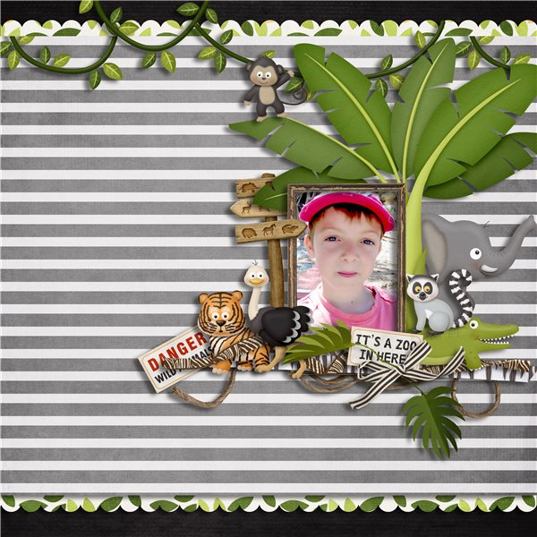 Digital scrapbooking layout by Sanka using Zoo Adventures Kit by lliella designs
