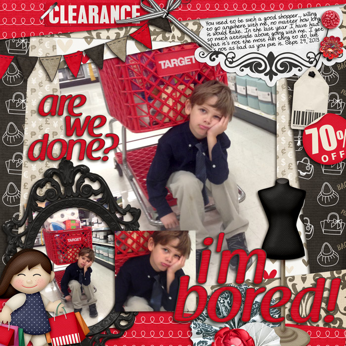 Digital scrapbooking layout by Rebecca using Retail Therapy Kit by lliella designs