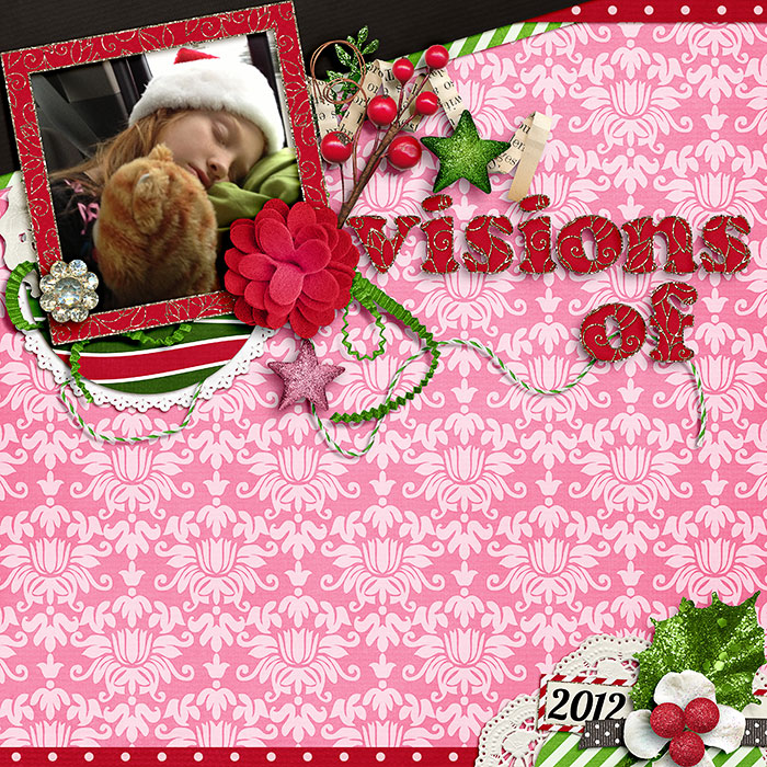 Digital scrapbooking layout by Keely using A Christmas Dream Kit by lliella designs