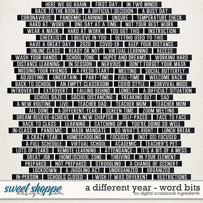 A Different Year | Word Bits by Digital Scrapbook Ingredients