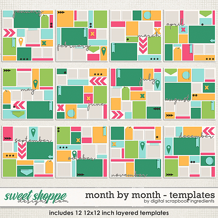 Month By Month Templates by Digital Scrapbook Ingredients