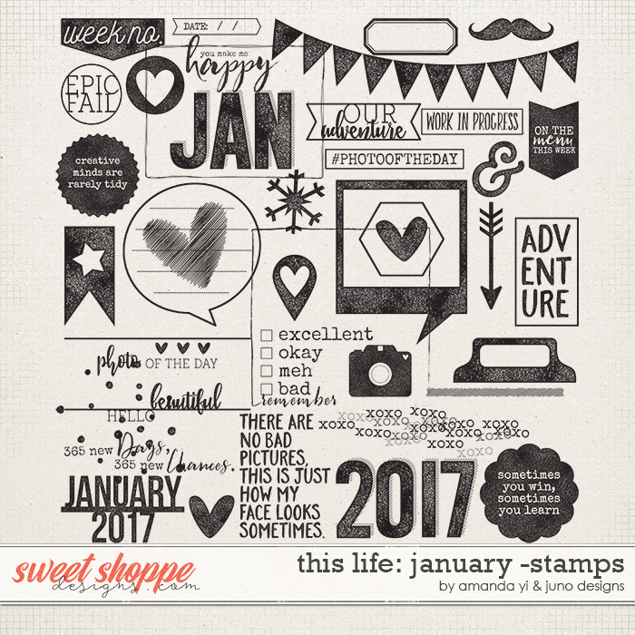 This Life: January - Stamps by Amanda Yi & Juno Designs