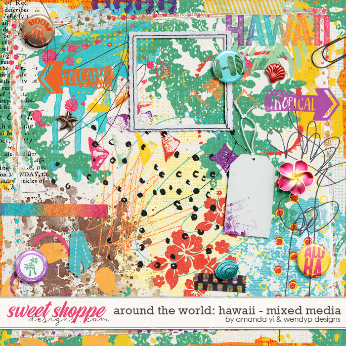 Around the world: Hawaii - mixed media by Amanda Yi and WendyP Designs