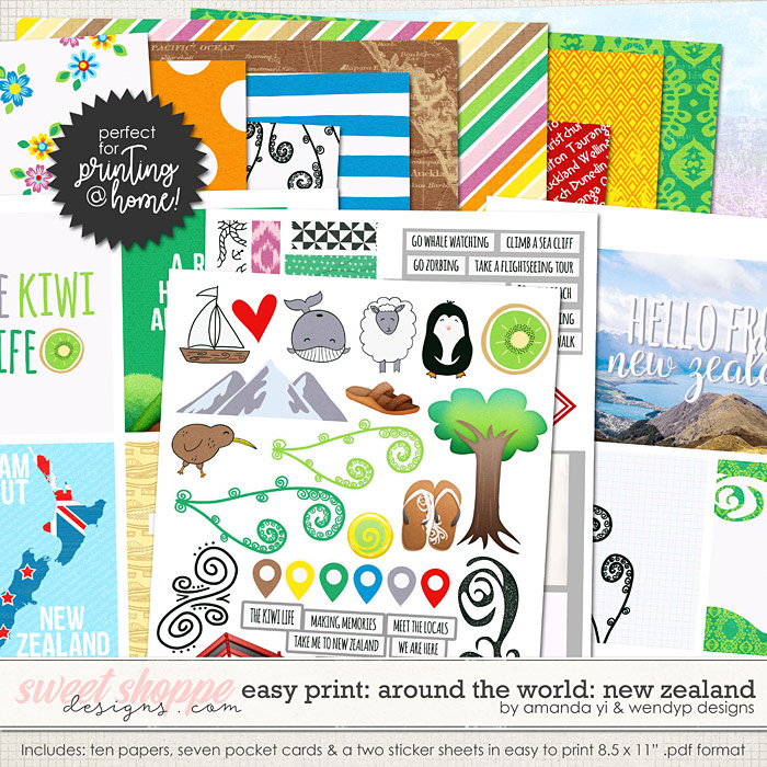 Easy Print Around the world: New Zealand by Amanda Yi & WendyP Designs