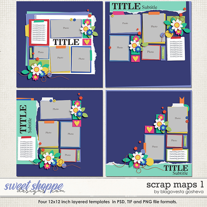Scrap Maps 1 {layered templates} by Blagovesta Gosheva