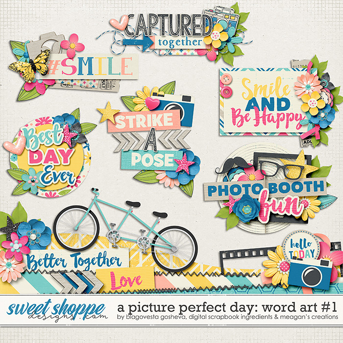 A Picture Perfect Day: Word Art Part #1 by Blagovesta Gosheva, Digital Scrapbook Ingredients and Meagan's Creations
